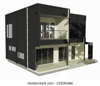 3d Model Of Two Story Wooden House On A White Background. Similar Images In