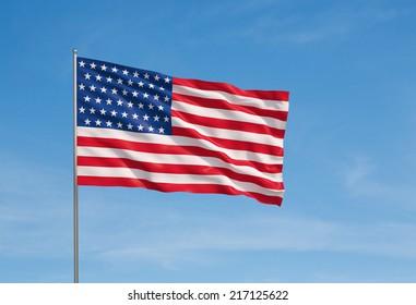 3d model of a waving USA flag. Blue sky background.