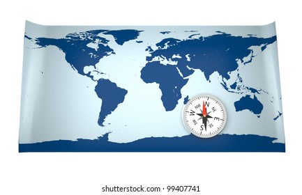 3D model of world map with compass. World map provided by visibleearth.nasa.gov