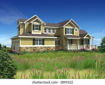 3d Model of yellow siding house photo-matched in grassy foreground