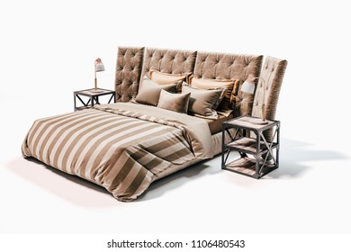 3d modern industrial style bed on white background