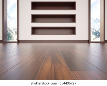 3d modern interior with empty shelves