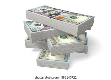 3D money concept - fortune, dollars, stacked.