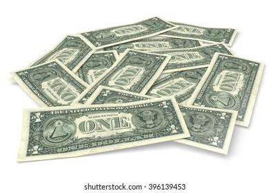 3D money concept - US dollars.