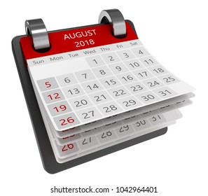 3d monthly calendar perspective view isolate, 2018 august page