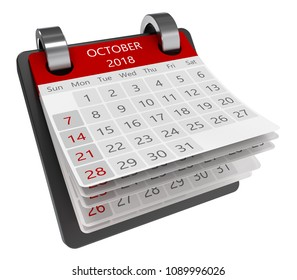 3d monthly calendar perspective view isolate, 2018 october page