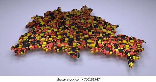 3d mosaic of  Berlin State Map - Germany