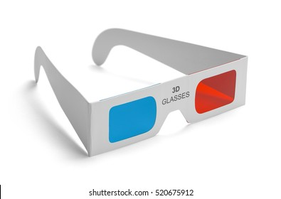 3D Movie Glasses Isolated on White Background.
