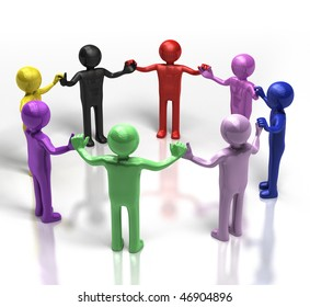 3D multi-coloured people holding hands in a circle
