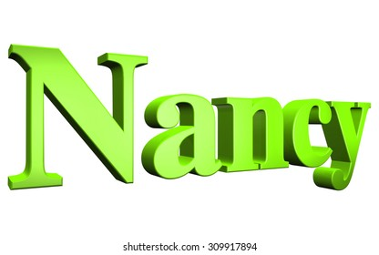 3D Nancy text on white background
