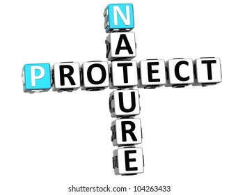 3D Nature Protect Crossword on white background