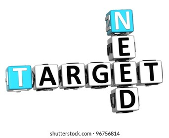 3D Need Target Crossword cube words on white background