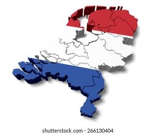 3D. Netherlands, Map, Flag.