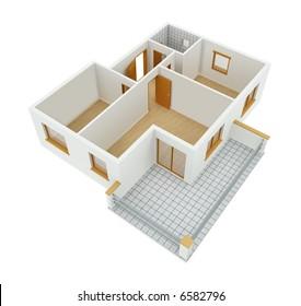 3D new apartment floor plan