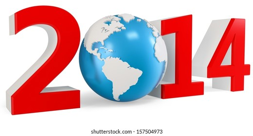 3d New Year 2014 concept with  Earth globe  on white background