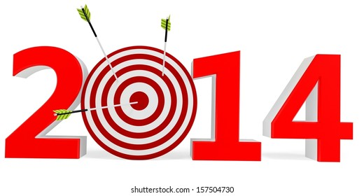 3d New year 2014 with target and arrows on white background