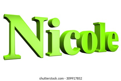 3D Nicole text on white background
