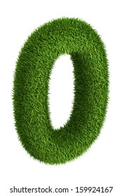 3D number 0 photo realistic grass isometric projection
