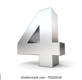 3d number 4 - from my metal number collection