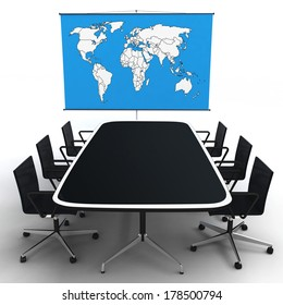 3d office with world map on a stand isolated on white