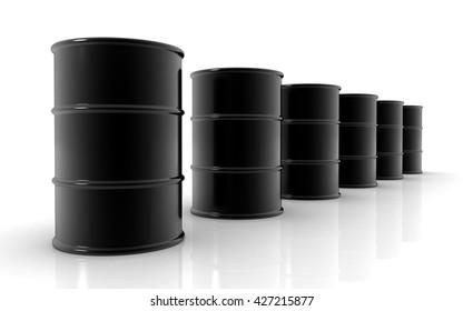 3D oil barrels on white background
