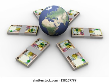3D Oman money around globe isolated on white background, Elements of this image furnished by NASA