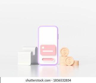 3D Online mobile payment concept and mobile banking transaction. 3D render illustration - Shutterstock ID 1836532834