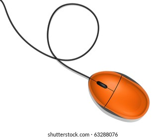 3D orange computer mouse isolated on white