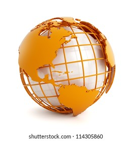 3d orange globe isolated on white background
