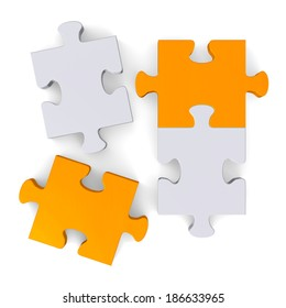 3d orange and grey puzzle with two missing pieces isolated on white, top view