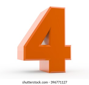 3d orange number 4 collection on white background