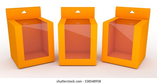 3d orange and transparent hanging box for show products blank template