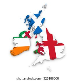 3D Outline of the United Kingdom and Ireland textured with National Flags
