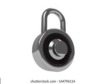 3d padlock isolated on white background