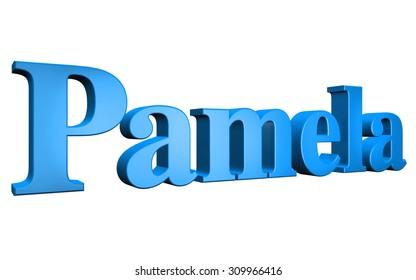 3D Pamela text on white background