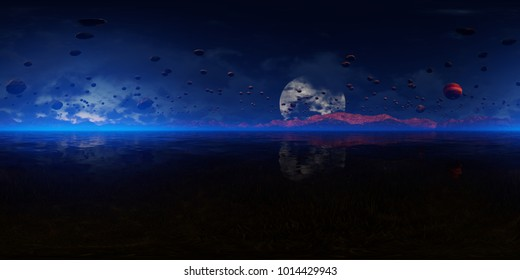 3d panorama rendering of an alien landscape with ocean and asteroids