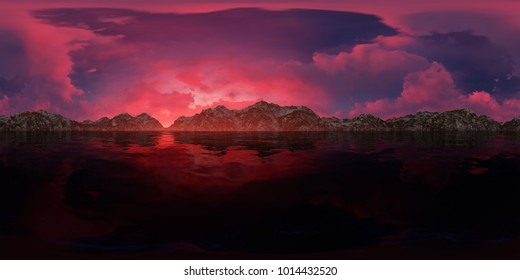 3d panorama rendering of a beautiful sunset with mountains skyline
