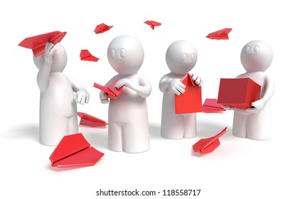 3d paper airplane production team concept, on white background, isolated