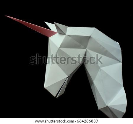 3 D Paper Unicorn On Black Background Stock Photo Edit Now