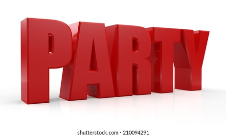 3D Party text on white background