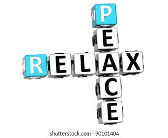 3D Peace Relax Crossword on white background