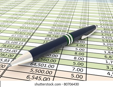 3d pen on the background of financial spreadsheet
