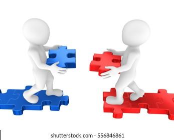 3d people build the bridge of puzzles