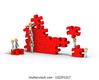 3d people building a puzzle, teamwork