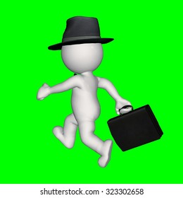 3D  People - business man with hat and briefcase - green screen