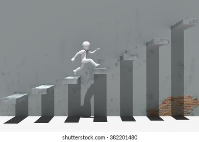 3d people character running up on stairs.
