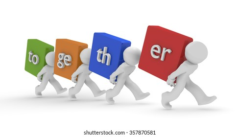 3d people with colorful dices and the word together