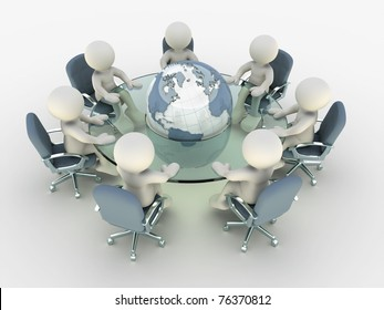 3d people at conference table around earth- This is a 3d render illustration