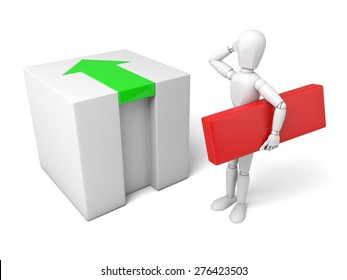 3d people with a cube. 3d image. Isolated white background