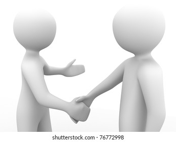 3d people greeting each other with a handshake